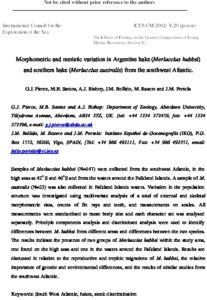 Icon of Pierce Et Al (2002) Morphometric And Meristic Variation In Argentine Hake And Souther Hake From The SW Atlantic